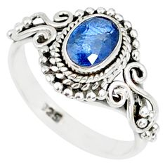 1.55cts natural blue kyanite 925 sterling silver handmade ring size 7 r82256