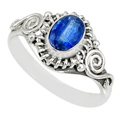 1.57cts natural blue kyanite 925 sterling silver ring jewelry size 7 r82403