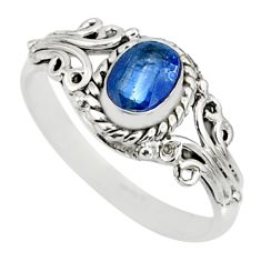 1.56cts natural blue kyanite 925 sterling silver ring jewelry size 7 r82404