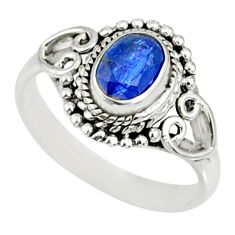 1.45cts natural blue kyanite 925 sterling silver handmade ring size 7 r82411