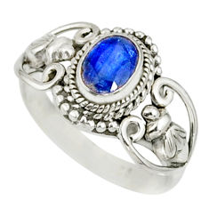 1.49cts natural blue kyanite 925 sterling silver handmade ring size 7 r82415