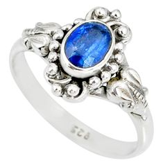 1.51cts natural blue kyanite 925 sterling silver handmade ring size 8 r82249