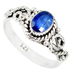 1.46cts natural blue kyanite 925 sterling silver handmade ring size 8 r82251