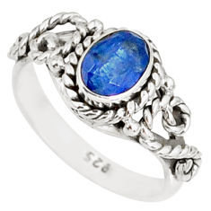 1.55cts natural blue kyanite 925 sterling silver handmade ring size 8 r82252