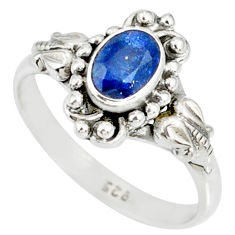 1.43cts natural blue kyanite 925 sterling silver handmade ring size 8 r82253