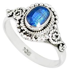 1.51cts natural blue kyanite 925 sterling silver handmade ring size 8 r82257