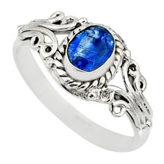 1.55cts natural blue kyanite 925 sterling silver ring jewelry size 8 r82401
