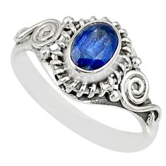 1.52cts natural blue kyanite 925 sterling silver ring jewelry size 8 r82407