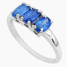 2.92cts natural blue kyanite 925 sterling silver ring jewelry size 8 t4078