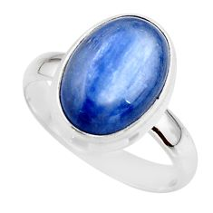 6.58cts natural blue kyanite 925 sterling silver ring jewelry size 9 r46772