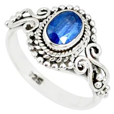 1.49cts natural blue kyanite 925 sterling silver handmade ring size 9 r82241