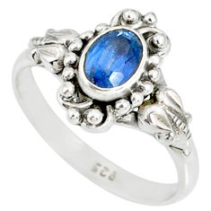 1.47cts natural blue kyanite 925 sterling silver handmade ring size 9 r82255