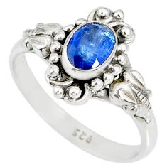1.47cts natural blue kyanite 925 sterling silver handmade ring size 9 r82260