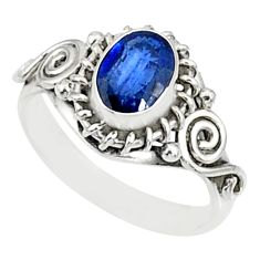 1.54cts natural blue kyanite 925 sterling silver ring jewelry size 9 r82402