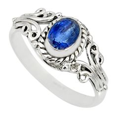 1.49cts natural blue kyanite 925 sterling silver ring jewelry size 9 r82409