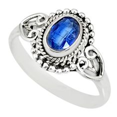 1.59cts natural blue kyanite 925 sterling silver ring jewelry size 9 r82410