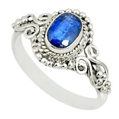 1.51cts natural blue kyanite 925 sterling silver handmade ring size 9 r82413
