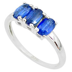 3.18cts natural blue kyanite 925 sterling silver ring jewelry size 9 t4080