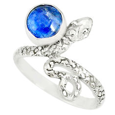 3.47cts natural blue kyanite 925 sterling silver snake ring size 8.5 r78631