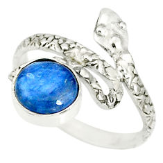 3.48cts natural blue kyanite 925 sterling silver snake ring size 8.5 r78650