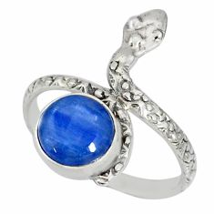 3.13cts natural blue kyanite 925 sterling silver snake ring size 8.5 r78672