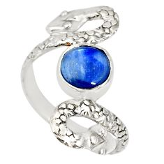 3.19cts natural blue kyanite 925 sterling silver snake ring size 8.5 r78729