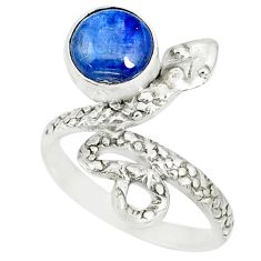 3.29cts natural blue kyanite 925 sterling silver snake ring size 7 r78611