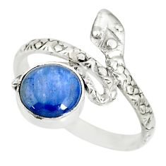 3.26cts natural blue kyanite 925 sterling silver snake ring size 9 r78653