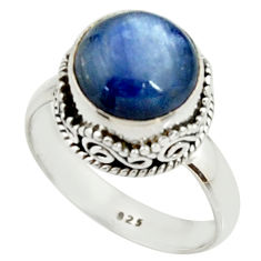4.93cts natural blue kyanite 925 sterling silver solitaire ring size 7.5 r22002