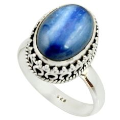 6.60cts natural blue kyanite 925 sterling silver solitaire ring size 9.5 r22007
