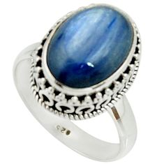 6.58cts natural blue kyanite 925 sterling silver solitaire ring size 8.5 r22008