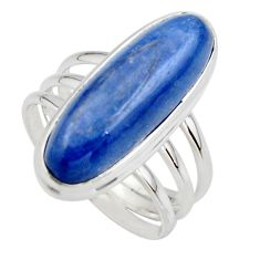 7.24cts natural blue kyanite 925 sterling silver solitaire ring size 7.5 r46882