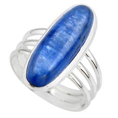 7.59cts natural blue kyanite 925 sterling silver solitaire ring size 8.5 r46886