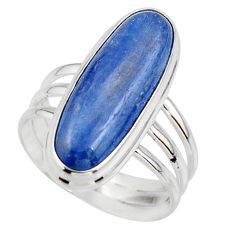 7.45cts natural blue kyanite 925 sterling silver solitaire ring size 7.5 r46889
