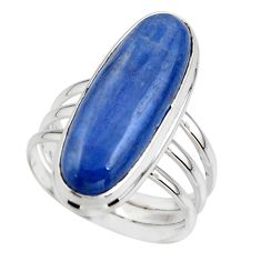 7.50cts natural blue kyanite 925 sterling silver solitaire ring size 6.5 r46891