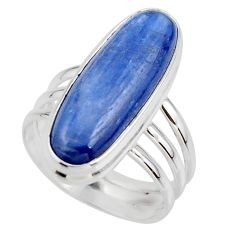7.16cts natural blue kyanite 925 sterling silver solitaire ring size 6.5 r46894
