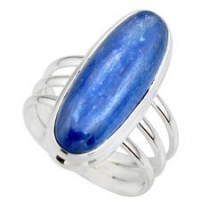 7.59cts natural blue kyanite 925 sterling silver solitaire ring size 6.5 r46898