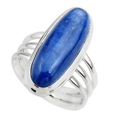 7.54cts natural blue kyanite 925 sterling silver solitaire ring size 7.5 r46900