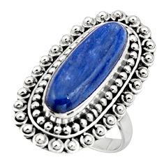 6.04cts natural blue kyanite 925 sterling silver solitaire ring size 8.5 r47281