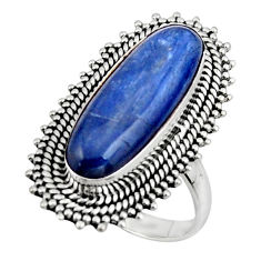 6.89cts natural blue kyanite 925 sterling silver solitaire ring size 8.5 r47286