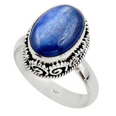 6.79cts natural blue kyanite 925 sterling silver solitaire ring size 9.5 r48384