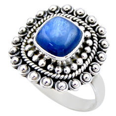 3.16cts natural blue kyanite 925 sterling silver solitaire ring size 7.5 r53101