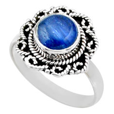 3.32cts natural blue kyanite 925 sterling silver solitaire ring size 8.5 r53105