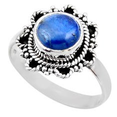 3.29cts natural blue kyanite 925 sterling silver solitaire ring size 8.5 r53106