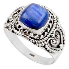 3.35cts natural blue kyanite 925 sterling silver solitaire ring size 7.5 r53422