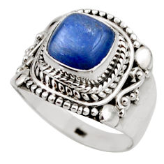 3.52cts natural blue kyanite 925 sterling silver solitaire ring size 6.5 r53423