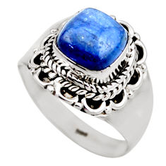 3.29cts natural blue kyanite 925 sterling silver solitaire ring size 6.5 r53428