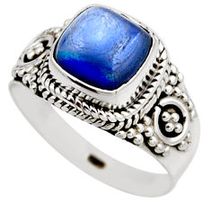 3.30cts natural blue kyanite 925 sterling silver solitaire ring size 6.5 r53432