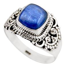 3.01cts natural blue kyanite 925 sterling silver solitaire ring size 7.5 r53433