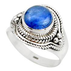3.50cts natural blue kyanite 925 sterling silver solitaire ring size 6.5 r53434